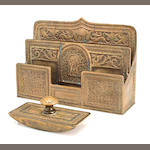 A Tiffany Studios gilt-bronze Spanish letter rack and rocker blotter 1899-1918