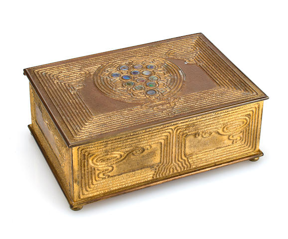 A Tiffany Studios gilt-bronze Abalone utility box 1899-1918