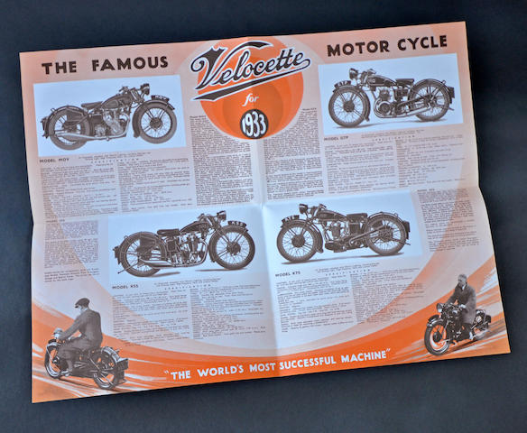 1933 Velocette full-line fold out brochure