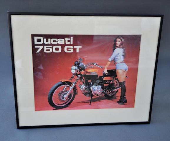 "c. 1972 Ducati 750 GT ""cheesecake"" brochure/poster"