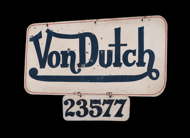A Von Dutch-painted street sign,