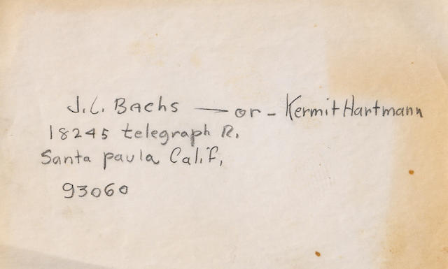 A hand-written address for J.L. Bachs or Kermit Hartmann,
