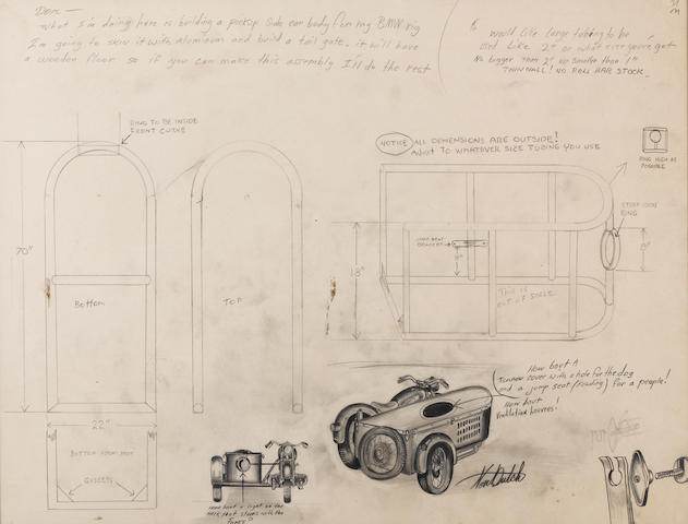 A Von Dutch sidecar fabrication drawing,