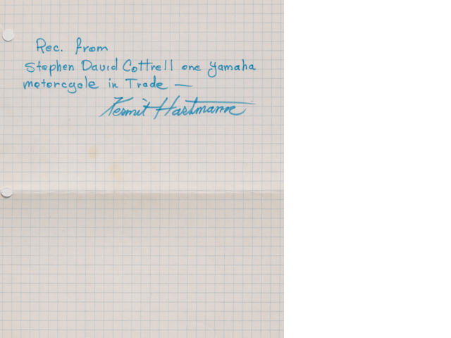 "A handwritten ""Kermit Hartmann"" reciept for trade of a Yamaha"