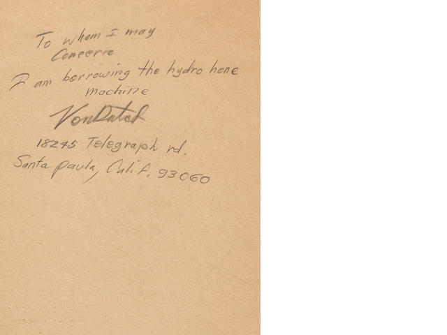 A hand-written note from Von Dutch for borrowing Baumunks tools,