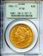 1884-CC $20 VF30 PCGS