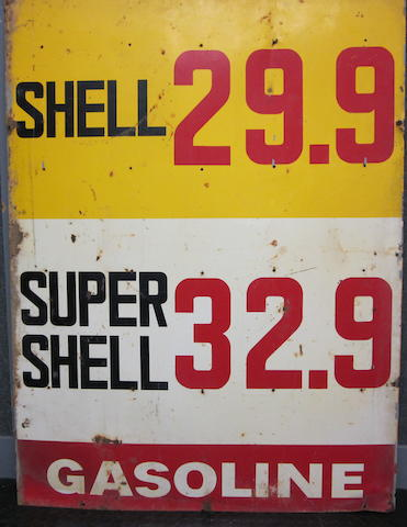 A Shell Gasoline service station price sign, circa 1965,