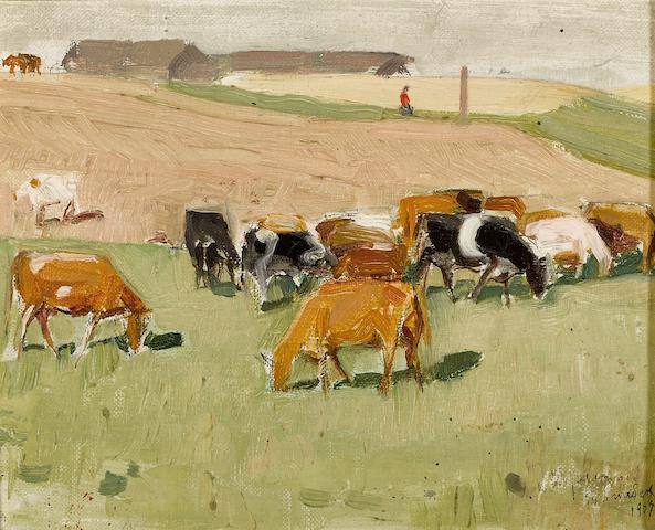 Leon Schulman Gaspard (Russian/American, 1882-1964) Cattle herd in a field, 1907 6 1/4 x 8in