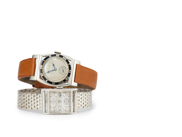Hamilton. A rare 14K white gold and enamel Art Deco wristwatch with flexible lugsPiping Rock, Movement no.29000430, Case no.107823, circa 1928