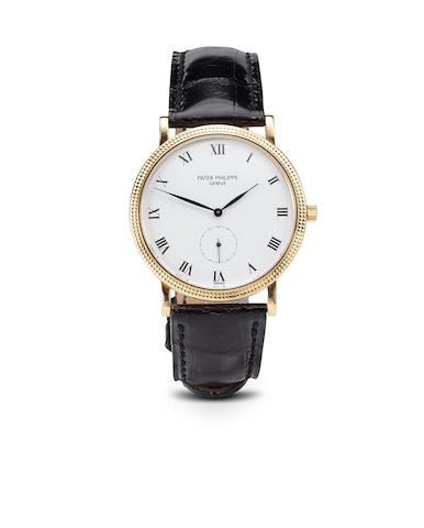 Patek Philippe. A fine 18K gold Calatrava wristwatchRef:3919, Case no. 2868656, Movement no. 1816761, sold 1989