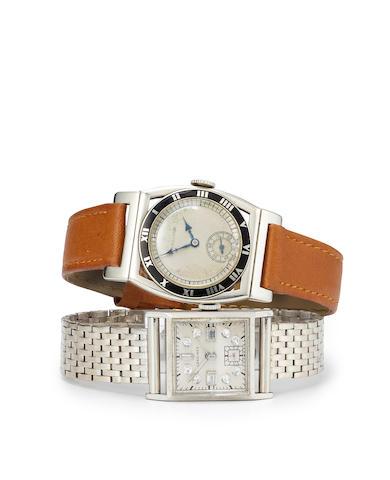 Longines. A fine palladium wristwatch with diamond dial and a 14K white gold braceletMovement no.6556175, case no.652040, circa 1940 -1945