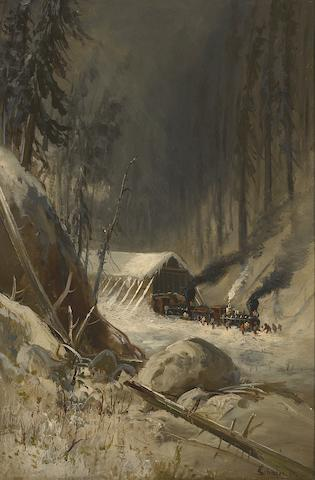 Frederick Ferdinand Schafer (German/American, 1839-1927) After a snowstorm in the Sierra Nevada Mountains near Summit Station, Central Pacific Railroad, 1885 24 x 16in