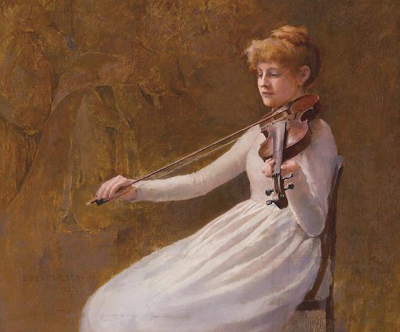 Emil Carlsen (Danish, 1853-1932) Girl with a violin, 1887 14 1/2 x 16 3/4in