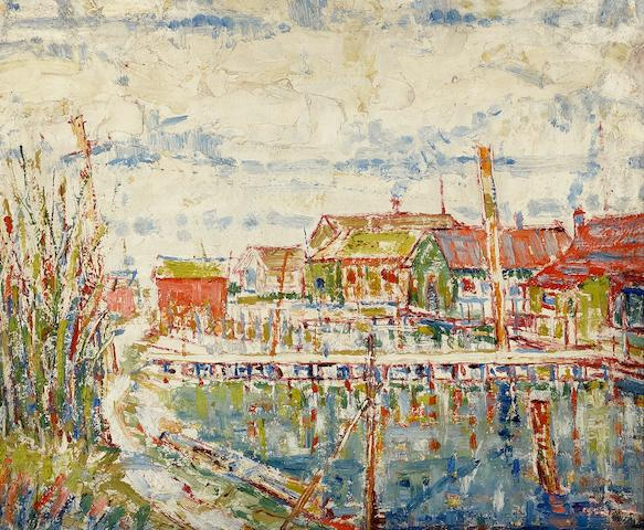 Louis Siegriest (American, 1899-1989) Waterfront houses, Seattle, 1922 sight: 14 3/4 x 17 1/2in