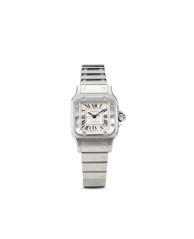 Cartier. A fine stainless steel wristwatch and bracelet with sweep seconds and dateSantos, no. 512964CD
