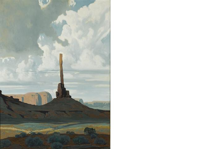 James Swinnerton (American, 1875-1974) Totem Pole, Monument Valley, Arizona 40 x 30in