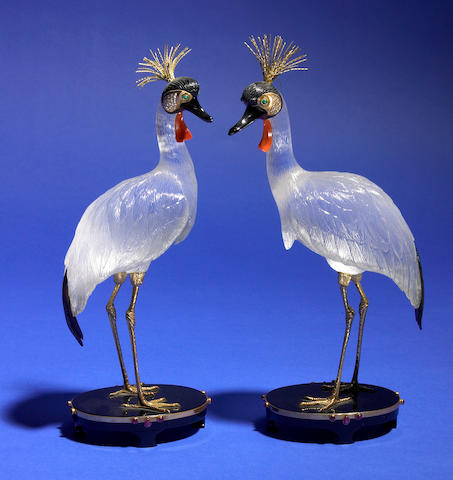 "Two Carved Gemstone Sculptures—""Pair of Crested Cranes"""