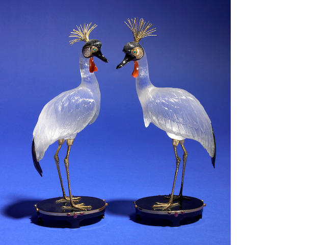 "Carved Gemstone Sculpture—""Pair of Crown Cranes"""