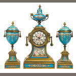 A French gilt bronze and 'jeweled' porcelain clock garniture  <br>late 19th century