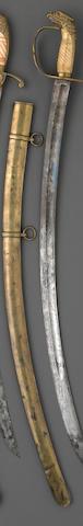 An American eagle pommel artillery officer's saber