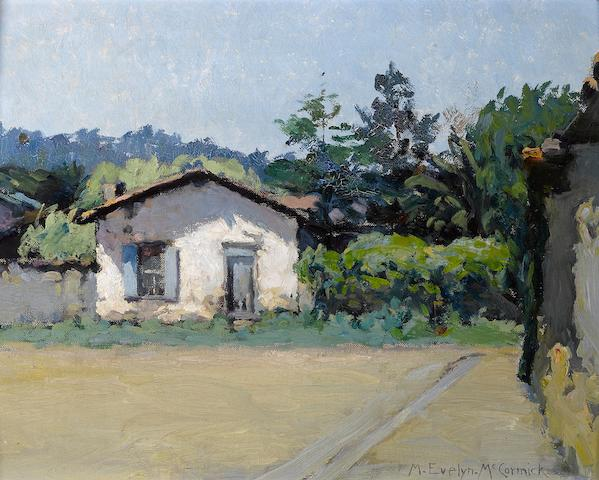 M. Evelyn McCormick (American, 1869-1948) Monterey adobe 12 x 15in