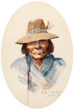 Edgar Samuel Paxson (American, 1852-1919) Sioux, 1905; Poker Jim, Flathead, 1910 (two) first 9 x 7in; second sight: 7 x 5in