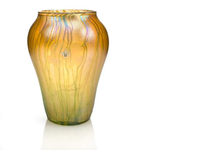 A Tiffany Studios Favrile glass vase with millefiores circa 1902
