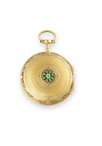 An 18k gold fusee pocketwatch with an enamel border and case, Robin Paris