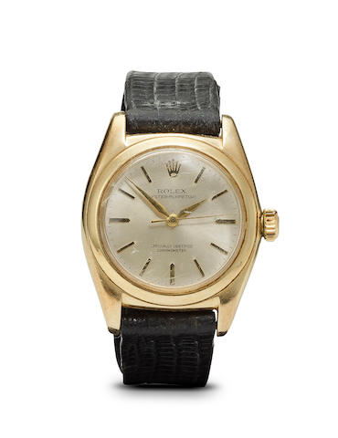 An 18k gold bubble back wristwatch, Rolex