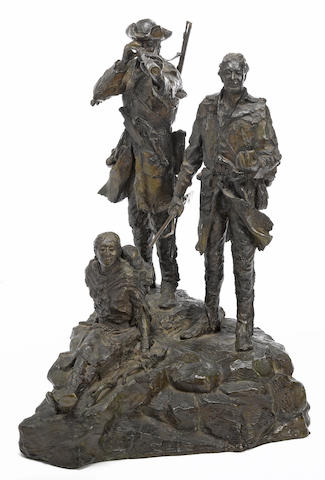 Bob Scriver (American, 1914-1999) Lewis and Clark and an Indian squaw with child height: 16 1/2in