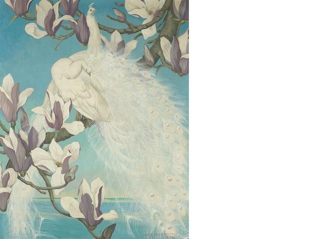 Jessie Arms Botke (American, 1883-1971) White peacocks and magnolia blossoms, 1938 32 x 26in