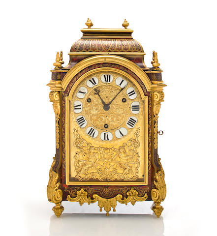 A fine and rare Louis XIV ormolu mounted boulle marquetry quarter striking bracket clock Signed Pierre Margotin, Paris, circa 1700