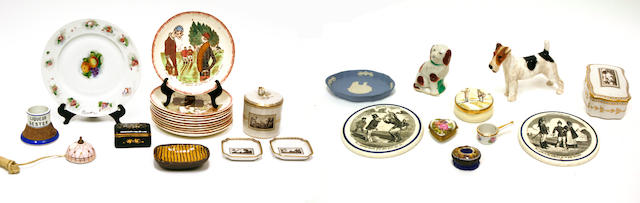 An assembled grouping of ceramics and enamel 18th/19th/20th century