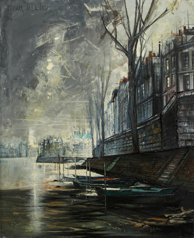 Regis (Count) de Bouvier de Cachard (French, born 1929) Paris la Seine, 1964 29 3/4 x 24in