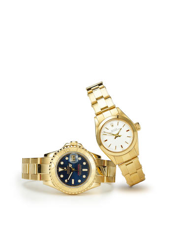 Rolex. A fine 18K gold center seconds automatic lady's wristwatch with date and calibrated bezelOyster Perpetual Date, Yacht-Master, Ref:69628, Case no.S938975, circa 1993