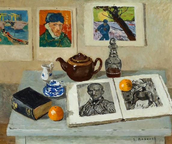 William Goodridge Roberts, RCA,CGP,CSGA,OSA,OC (Canadian 1904-1974) Still Life With Van Gogh Prints