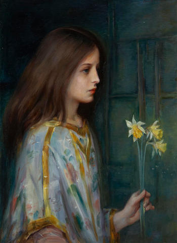 Laura Adelaine Muntz Lyall OSA, ARCA (Canadian, 1860-1930) A Young Girl Holding Daffodils