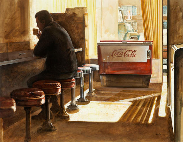 Kenneth Edison Danby (Canadian, 1940-2007) At The Counter sight