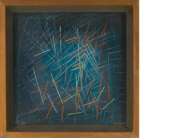 Oskar Fischinger (German/American, 1900-1967) Untitled (Dancing Sticks), 1951 framed 18 3/4 x 18 3/4in