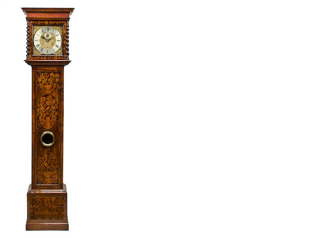 A William and Mary marquetry longcase clock, with pendulum, two weights, winder and key