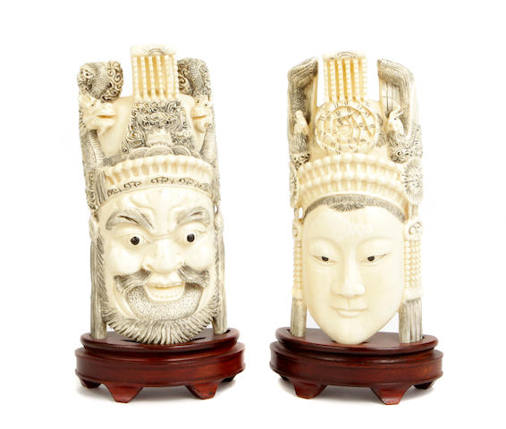 A pair of Chinese ivory male and female theater figures