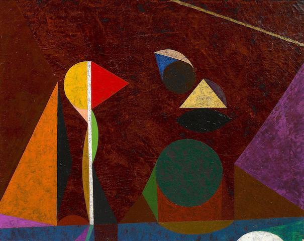 Frederick Hammersley (American, 1919-2009) Darkscape, 1954-56 16 1/4 x 20 1/4in