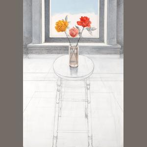 Paul Wonner (American, 1920-2008) Rose on a Tall Stool, 1977-78 39 1/2 x 27 3/4in