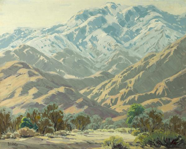 Sam Hyde Harris (American, 1889-1977) Desert floor with snow dusted peaks beyond 24 x 30 1/4in