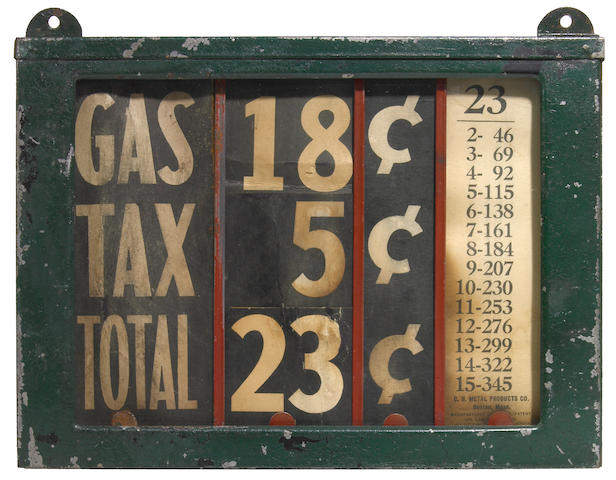 A early gas station price sign, circa 1920,