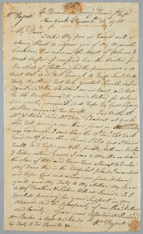 REVOLUTIONARY WAR—P.O.W. ARCHIVE. Archive of 14 documents relating to William Russell, seaman in the Continental Navy and prisoner of war on the British prison ship Jersey,