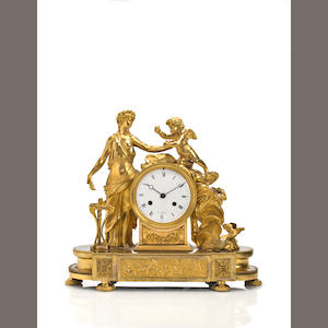 A Louis XVI ormolu mantel clockLate 18th century