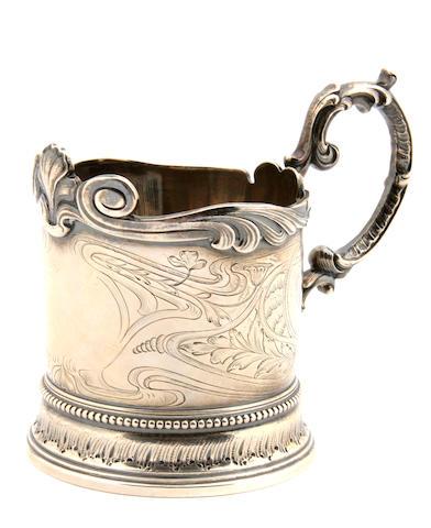 A Russian 84 standard silver tea glass holder N.M Bobir, St. Petersburg, circa 1899 - 1908