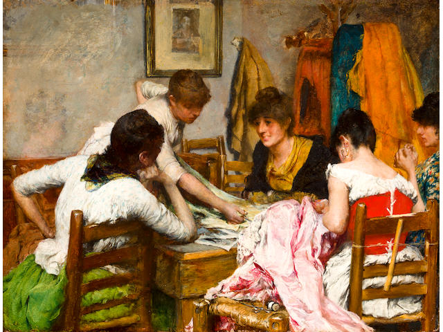 Charles Frederick Ulrich (American, 1858-1908) The new dress 10 5/8 x 13 3/4in