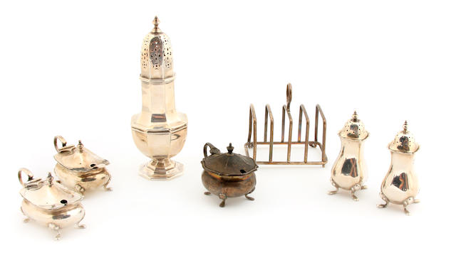 A group of English sterling silver  dining accessories Early 20th century